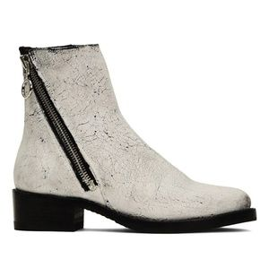 The Frye Demi Zip White and Black Bootie